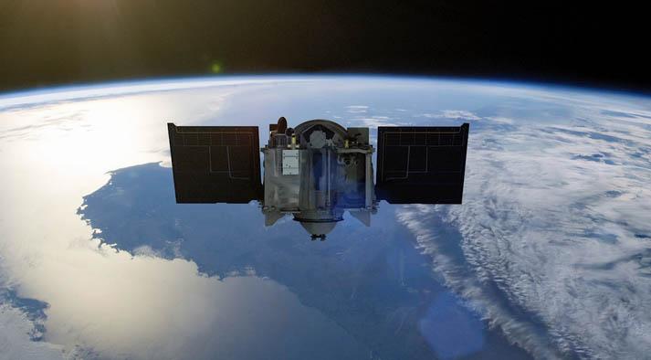 An artist's concept of OSIRIS-REx departing Earth this evening. Credit: NASA