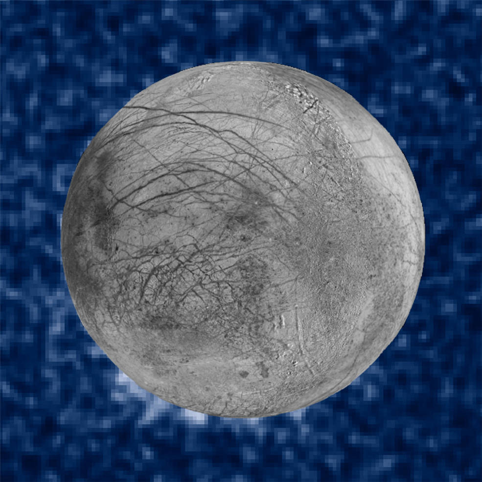 This composite image shows suspected plumes of water vapor erupting at the 7 o'clock position off the limb of Jupiter's moon Europa. The plumes, photographed by NASA's Hubble's Space Telescope Imaging Spectrograph, were seen in silhouette as the moon passed in front of Jupiter. Credits: NASA/ESA/W. Sparks (STScI)/USGS Astrogeology Science Center