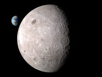 Illustration of the far side of the moon, with Earth in the background. Credit: NASA's Scientific Visualization Studio