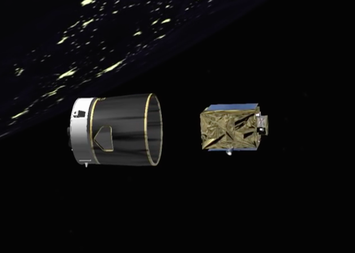 The 948-pound (430-kilogram) PeruSat 1 satellite separates from the Vega rocket's fourth stage. The upper stage's RD-843 engine will ignite again a few minutes later to head for a disposal orbit.