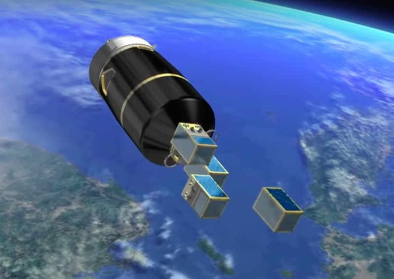 The four SkySat Earth observation satellites mounted in the upper position on the Vega rocket's Vespa dual-payload adapter separate one by one starting at T+plus 40 minutes, 21 seconds, and ending seven seconds later.