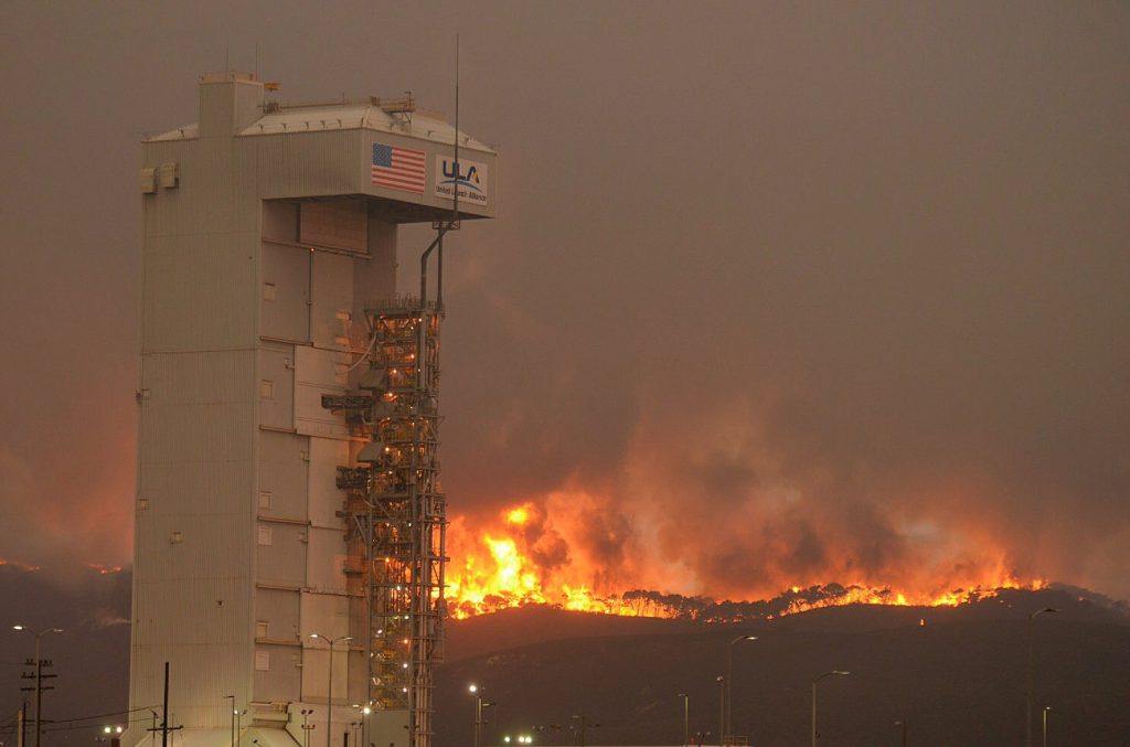 Flames burn behind the Atlas 5 rocket pad Monday. Credit: Santa Barbara County Fire Dept.