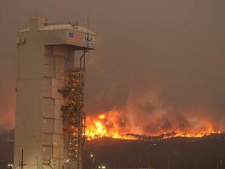 Flames burn behind the Atlas 5 rocket pad Monday. Credit: Santa Barbara County Fire