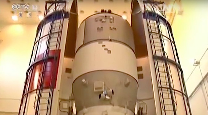 The Tiangong 2 spacecraft is encapsulated inside the Long March 2F booster's payload fairing. Credit: CCTV
