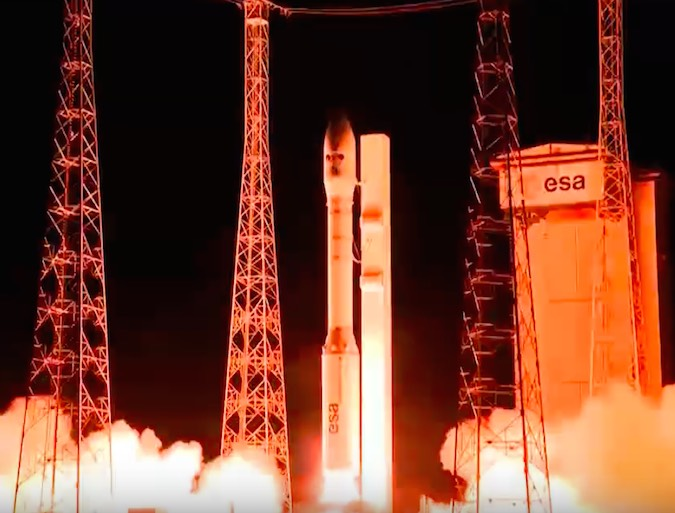 The Vega rocket blasted off at 0143:35 GMT Friday (9:43:35 p.m. EDT; 10:43:35 p.m. French Guiana time Thursday) from the Guiana Space Center. Credit: Arianespace