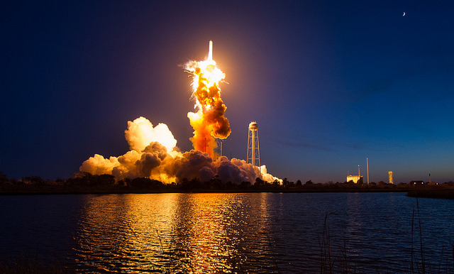 The upcoming launch will be the first time an Antares rocket has flown from Virginia's Eastern Shore since a dramatic failure in October 2014. Orbital ATK replaced the AJ26 engines blamed for that failure with newly-manufactured RD-181s. Credit: NASA/Joel Kowsky