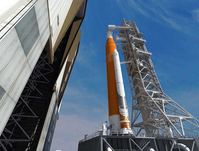 Artist's concept of the Space Launch System rolling out of the Vehicle Assembly Building. Credit: NASA