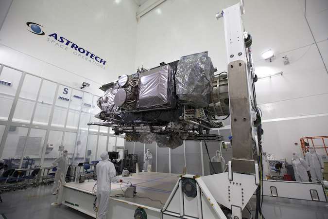 The GOES-R weather satellite, scheduled for liftoff on an Atlas 5 rocket Nov. 4, is sheltered inside the commercial Astrotech satellite processing facility in Titusville, Florida. Credit: NASA/Charles Babir