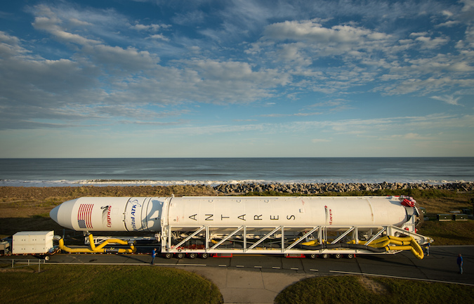 The Antares rocket during Thursday's rollout. Credit: NASA/Bill Ingalls