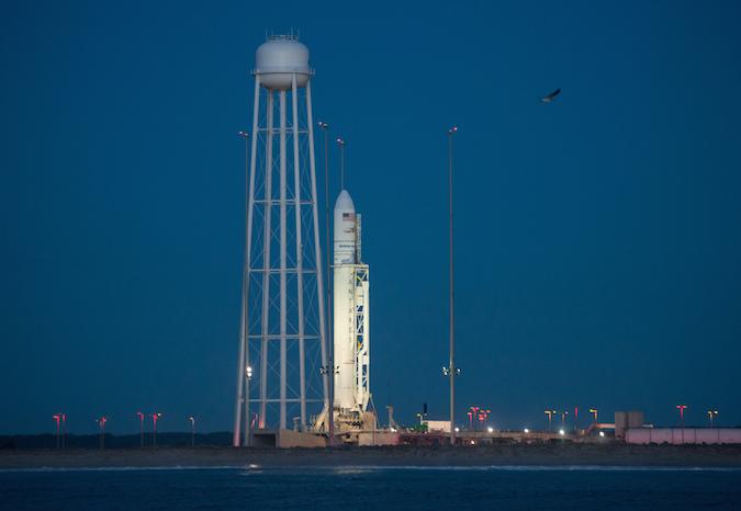 The Antares rocket sits on launch pad 0A at Wallops Island, Virginia. Credit: NASA/Bill Ingalls