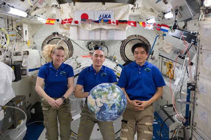 Kate Rubins, Anatoly Ivanishin and Takuya Onishi (left to right) are scheduled to return to Earth Saturday. Credit: NASA