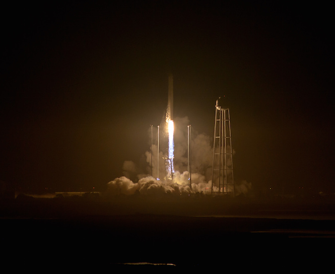 The Antares rocket lifted off from Virginia's Eastern Shore at 7:45 p.m. EDT (2345 GMT) Monday. Credit: NASA/Bill Ingalls