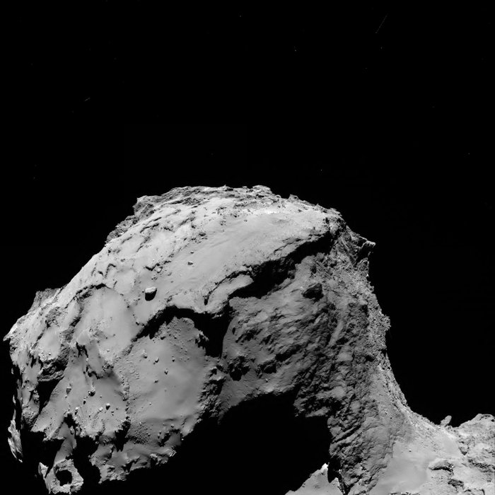 The OSIRIS wide-angle camera took this image of comet 67P/Churyumov-Gerasimenko at 0217 GMT on Sept. 30 (10:17 p.m. EDT on Sept. 29) at a range of 9.6 miles (15.5 kilometers). The field-of-view in this picture stretches about 2 miles (3.2 kilometers) across, and the resolution is 5.11 feet (1.56 meters) per pixel. Credit: ESA/Rosetta/MPS for OSIRIS Team MPS/UPD/LAM/IAA/SSO/INTA/UPM/DASP/IDA