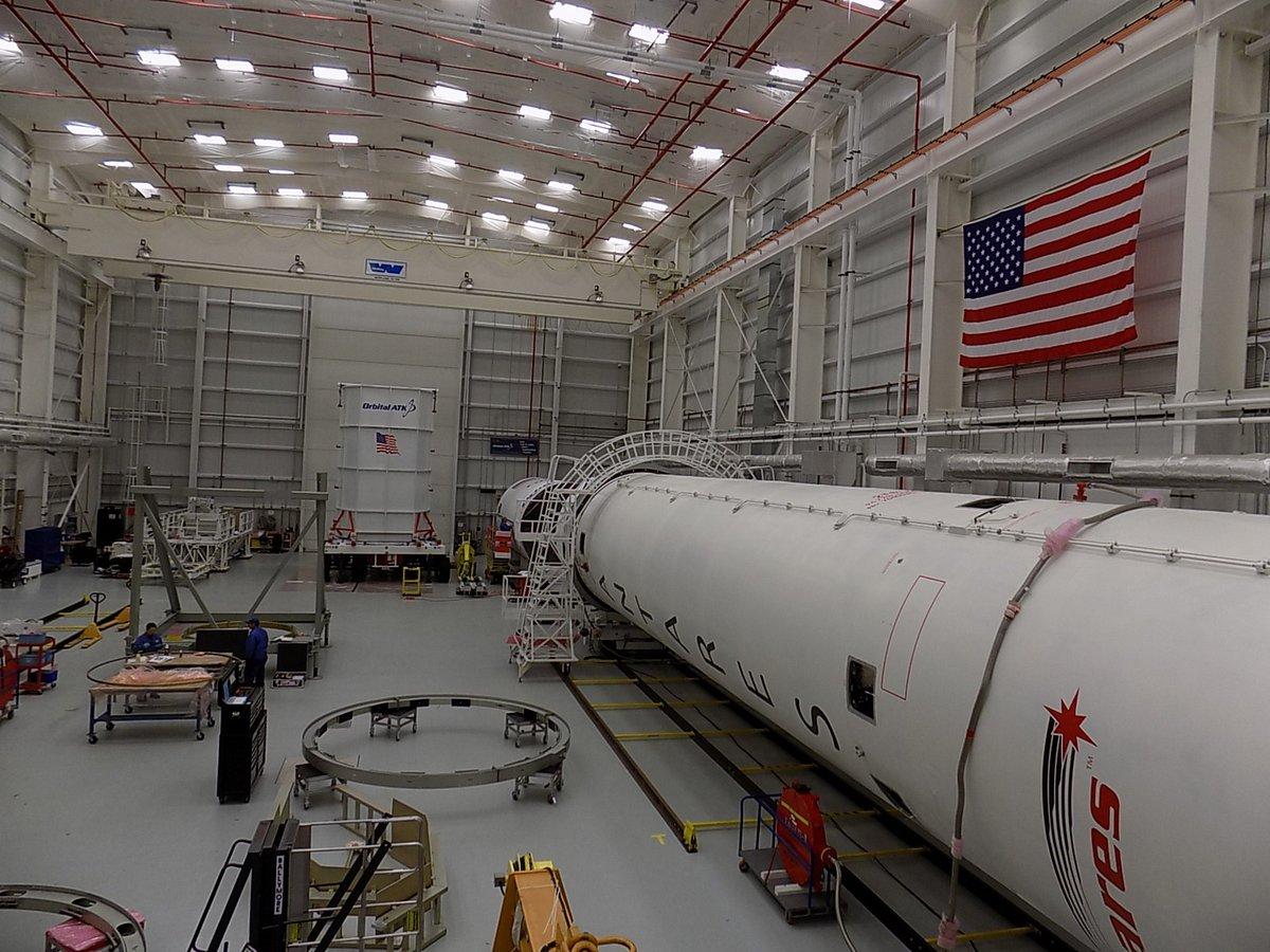 A view inside the Horizontal Integration Facility at Wallops Island, Virginia. Credit: Orbital ATK