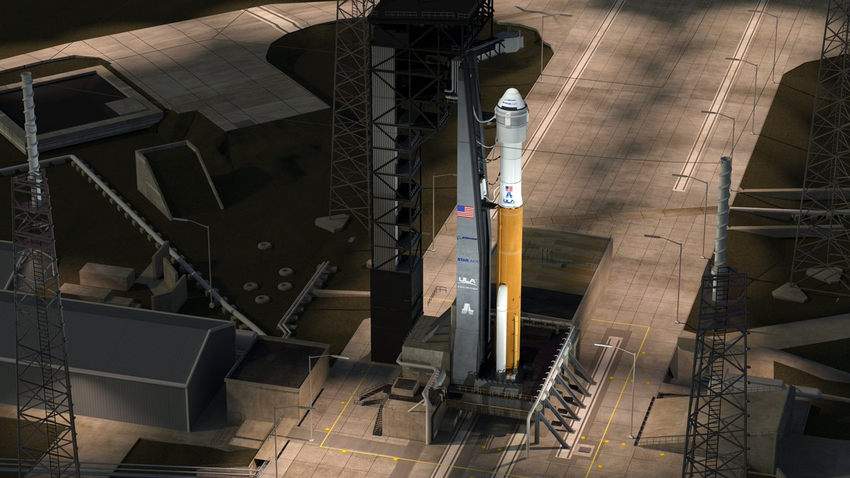 Artist's concept of Boeing's CST-100 Starliner capsule on top of a United Launch Alliance Atlas 5 rocket with two strap-on solid rocket boosters. This rendering features the recent addition of an aft skirt below the capsule's service module. Credit: United Launch Alliance