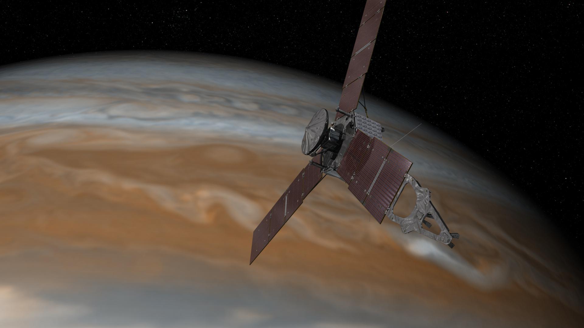 Artist's concept of the solar-powered Juno spacecraft at Jupiter. Credit: NASA/JPL-Caltech