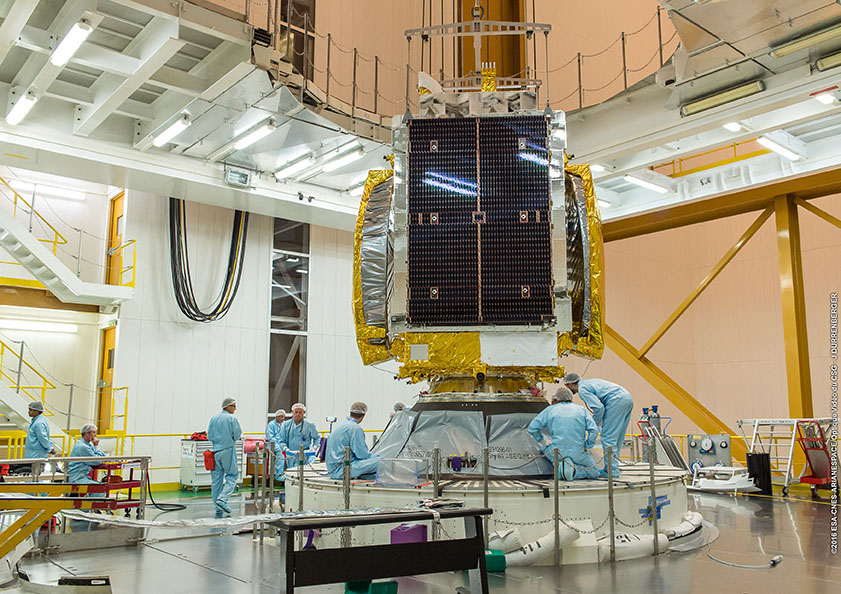 The GSAT 18 satellite is seen during attachment to the Ariane 5's second stage before launch. Credit: ESA/CNES/Arianespace – Photo Optique Video du CSG – J. Durrenberger