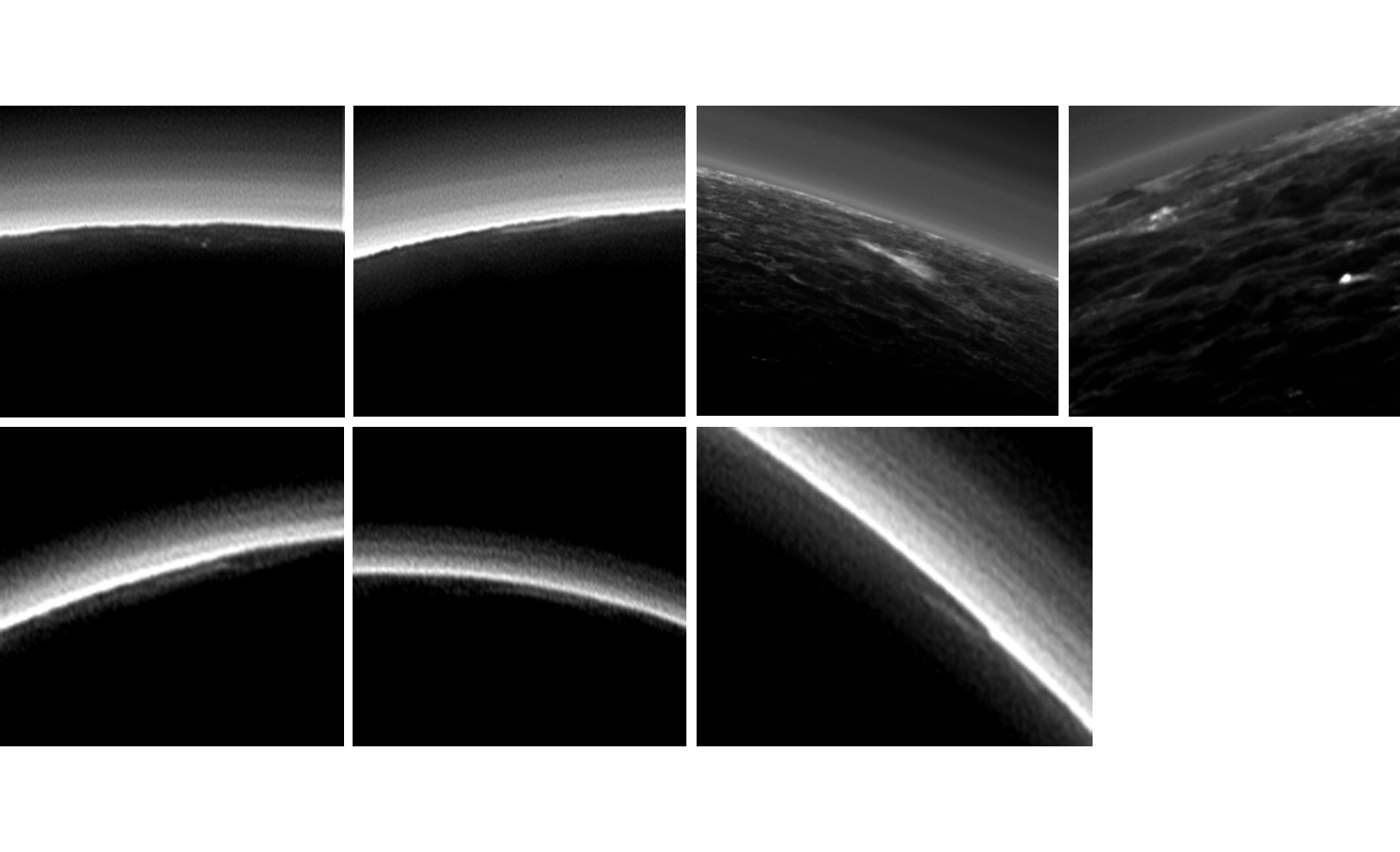 Pluto's present, hazy atmosphere is almost entirely free of clouds, though scientists from NASA's New Horizons mission have identified some cloud candidates after examining images taken by the New Horizons Long Range Reconnaissance Imager and Multispectral Visible Imaging Camera during the spacecraft's July 2015 flight through the Pluto system. All are low-lying, isolated small features -- no broad cloud decks or fields -- and while none of the features can be confirmed with stereo imaging, scientists say they are suggestive of possible, rare condensation clouds. Credit: NASA/JHUAPL/SWRI