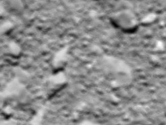 The final view from Rosetta's OSIRIS wide-angle camera was taken about 65 feet (20 meters) from the comet shortly before impact. The blurry image has a field-of-view stretching about 8 feet (2.4 meters) across, with a resolution of one-fifth of an inch (5 millimeters) per pixel. Credit: ESA/Rosetta/MPS for OSIRIS Team MPS/UPD/LAM/IAA/SSO/INTA/UPM/DASP/IDA