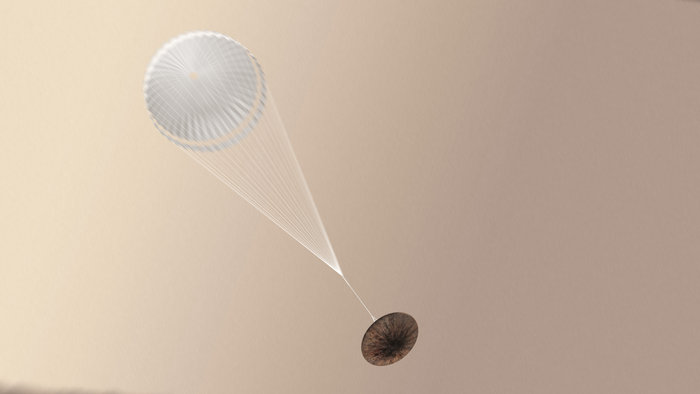 Artist's concept of the Schiaparelli lander suspended under its supersonic parachute. Credit: ESA/ATG medialab