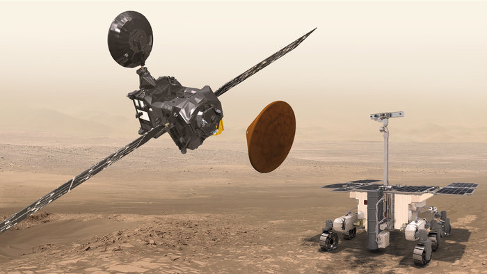 Artist's concept of the European elements of the ExoMars program, including the Trace Gas Orbiter, Schiaparelli, and the rover set for launch in 2020. Credit: ESA/ATG medialab