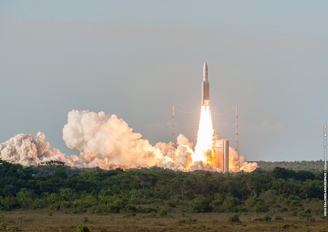 The Ariane 5 rocket lifted off at 2030 GMT (4:30 p.m. EDT; 5:30 p.m. French Guiana time) with the Sky Muster 2 and GSAT 18 communications satellites. This view of the launch comes from the Toucan observation deck about 3 miles (5 kilometers) from the pad. Credit: ESA/CNES/Arianespace – Photo Optique Video du CSG – S. Martin