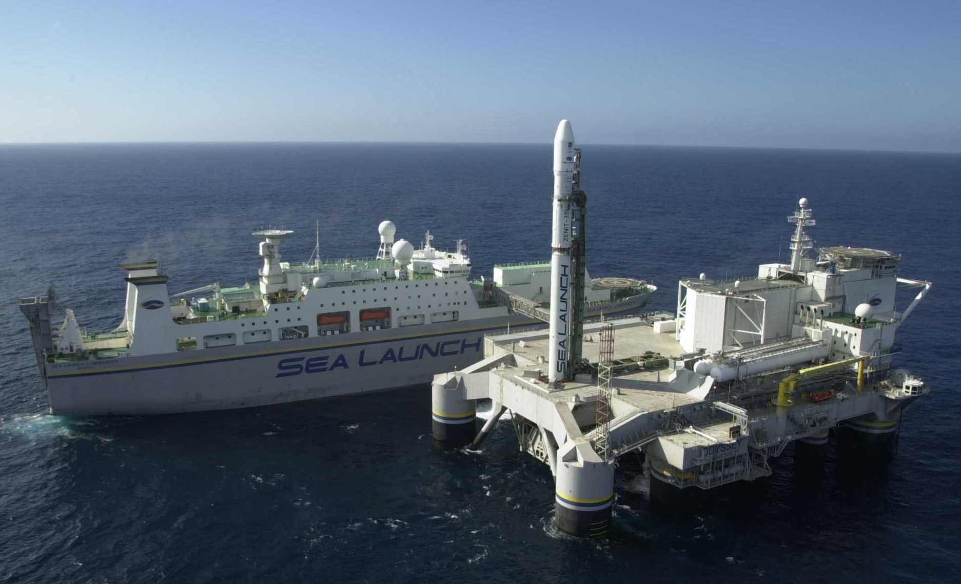 File photo of the Sea Launch Commander control ship and the Odyssey launch platform with a Zenit 3SL rocket awaiting liftoff. Credit: Sea Launch