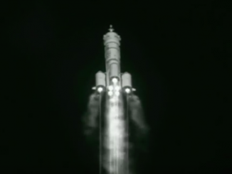 The Long March 2F rocket begins a pitch-over maneuver to steer on the proper heading toward orbit.