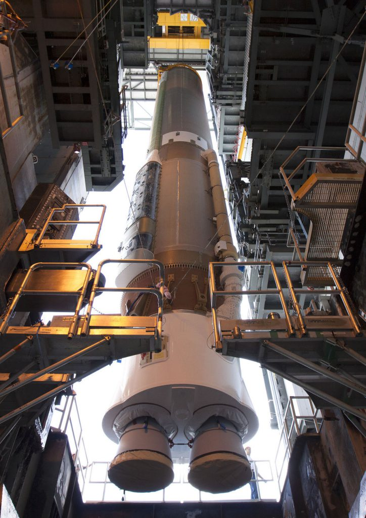 File photo of Atlas 5 first stage being stacked. Credit: NASA-KSC