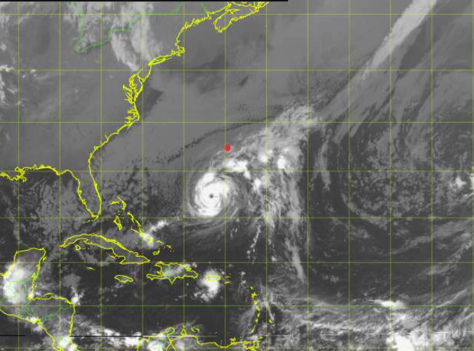 A GOES weather satellite image of Hurricane Nicole in the Atlantic Ocean late Tuesday, with Bermuda highlighted in red. Credit: NOAA/Bermuda Weather Service