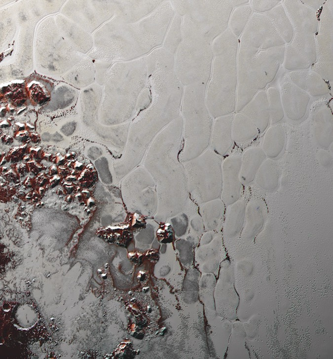"Like a cosmic lava lamp, a large section of Pluto's icy surface is being constantly renewed by a process called convection that replaces older surface ices with fresher material. Scientists from NASA's New Horizons mission used state-of-the-art computer simulations to show that the surface of Pluto's informally named Sputnik Planitia is covered with churning ice ""cells"" that are geologically young and turning over due to a process called convection. The scene above is about 250 miles (400 kilometers) across. Credit: NASA/JHUAPL/SWRI"