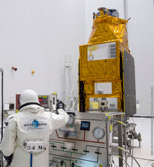 Technicians clad in hazardous material suits oversee fueling of the Gokturk 1 satellite with toxic hydrazine maneuvering propellant. Credit: ESA/CNES/Arianespace – Photo Optique Video du CSG – JM Guillon