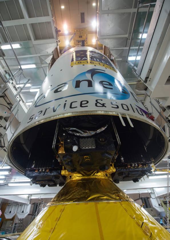 The Ariane 5's nose fairing lowered over the four Galileo satellites. Credit: ESA/CNES/Arianespace – Photo Optique Video du CSG – JM Guillon