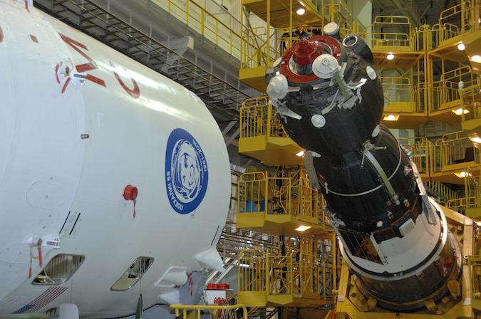 The Soyuz MS-03 spacecraft before encapsulation inside its aerodynamic shroud. Credit: NASA/Alexander Vysotsky