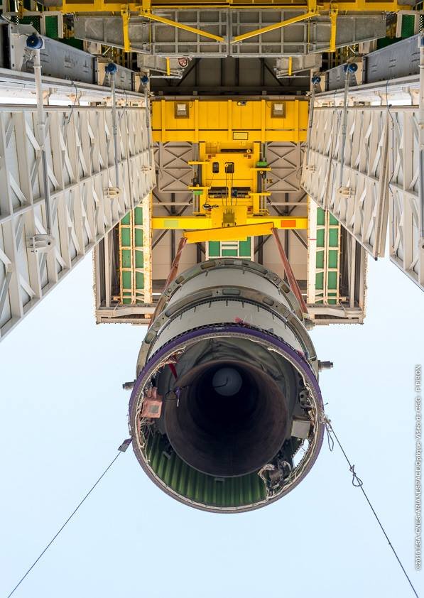 The Vega rocket's solid-fueled Zefiro 9 third stage was hoisted into the launch pad's mobile service tower in October. Credit: ESA/CNES/Arianespace – Photo Optique Video du CSG – P. Piron