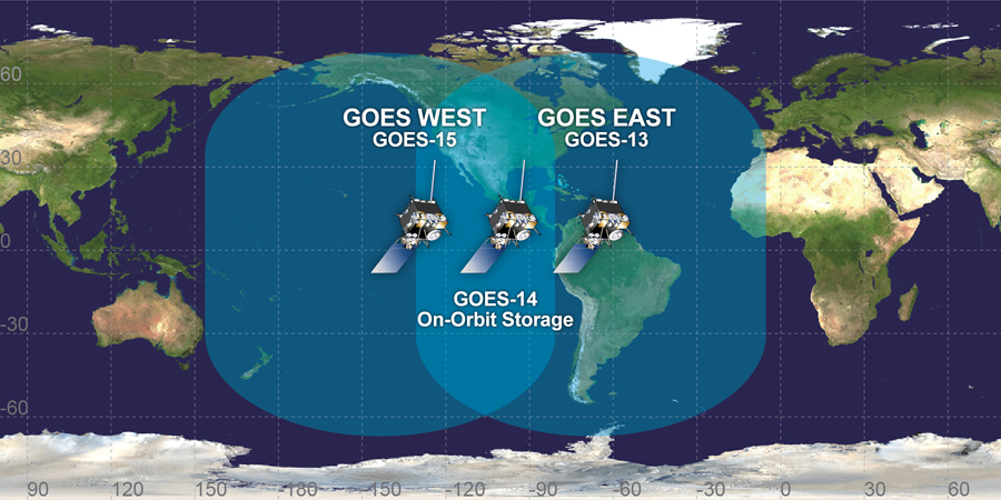 The GOES operating constellation before today's launch. Credit: NOAA