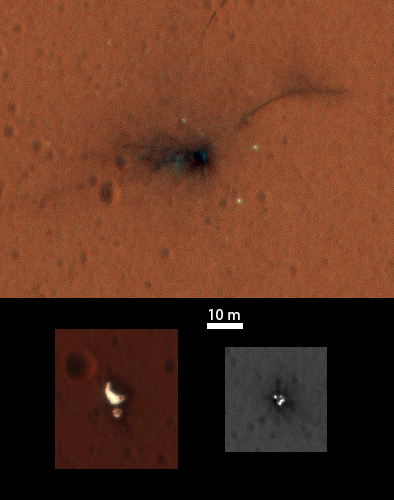 The HiRISE camera aboard NASA's Mars Reconnaissance Orbiter took these pictures of the Schiaparelli crash site Nov. 1. The top image shows the crater left where the lander impacted, and the bottom images show (left to right) the craft's parachute and rear heat shield together and the probe's forward heat shield jettisoned during descent. Credit: NASA/JPL-Caltech/University of Arizona