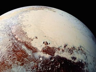 The expanse of Sputnik Planitia, the bright region visible in this image of Pluto, might cover an ocean of slushy water-ice. Credit: NASA/JHUAPL/SWRI