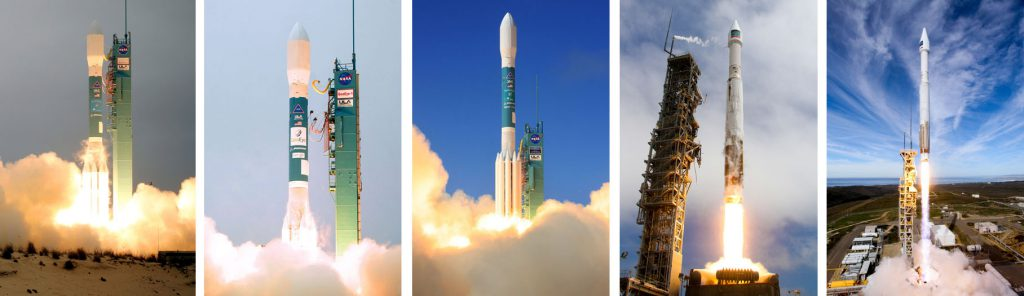 All five of DigitalGlobe's sub-meter imagery satellites were launched by ULA Delta 2 and Atlas 5 rockets. Photos by ULA