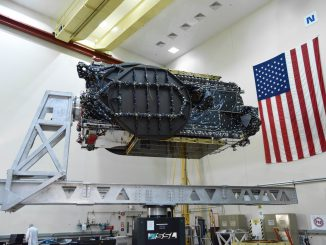 The EchoStar 19 spacecraft in the factory. Credit: SSL