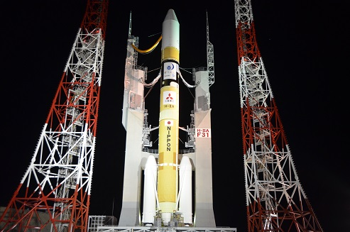 The H-2A rocket set to launch with the Himawari 9 weather satellite rolled out to its launch pad at the Tanegashima Space Center on Tuesday. Credit: MHI