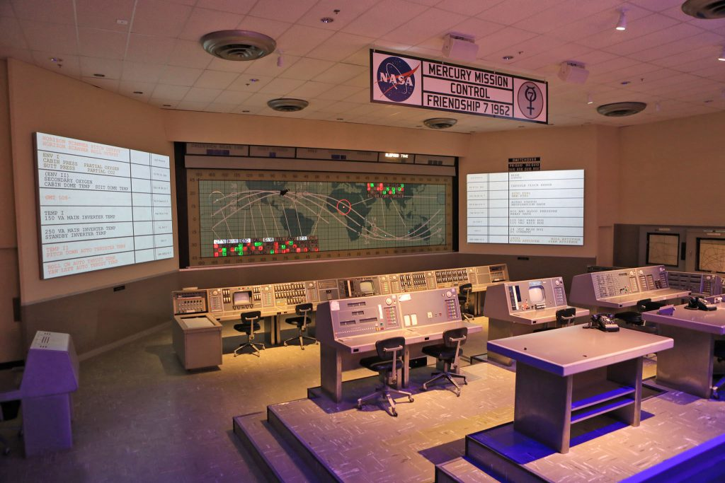 The original consoles of the Mercury Mission Control room are preserved and displayed at Heroes & Legends. Credit: NASA/Glenn Benson