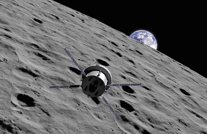 Artist's concept of the Orion spacecraft during a lunar flyby maneuver on its planned unpiloted test flight in 2018. Credit: NASA