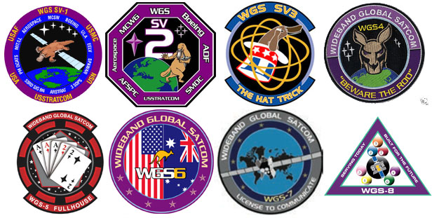 The eight WGS mission patches. Credit: Air Force logos; Spaceflight Now graphic