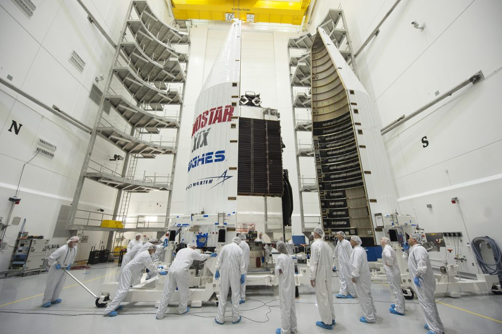 EchoStar 19 during final pre-launch processing. Credit: United Launch Alliance and Lockheed Martin