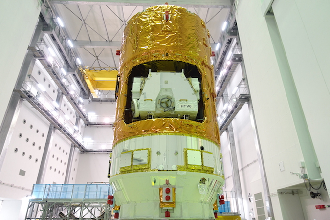 The sixth HTV cargo ship from Japan is fully assembled in this image, ready to meet its H-2B launcher. Credit: JAXA