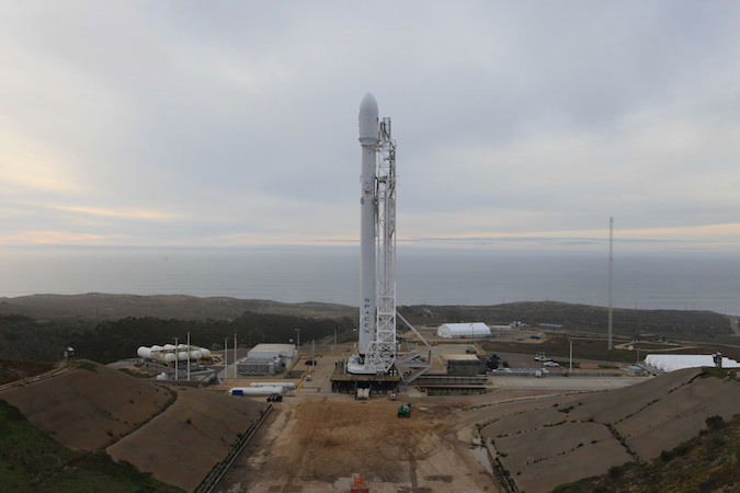 file photo of a falcon 9 rocket on the launch pad at vandenberg air force base