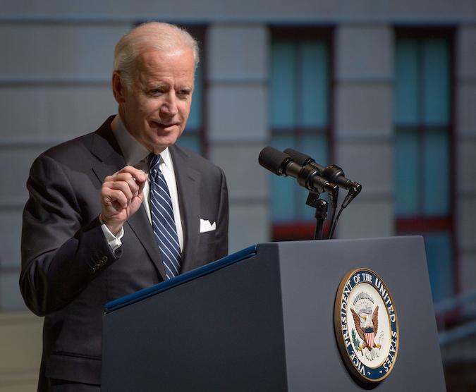 Vice President Joe Biden speaks Saturday during a service celebrating the life of astronaut and U.S. Senator John Glenn. Credit: NASA/Bill Ingalls