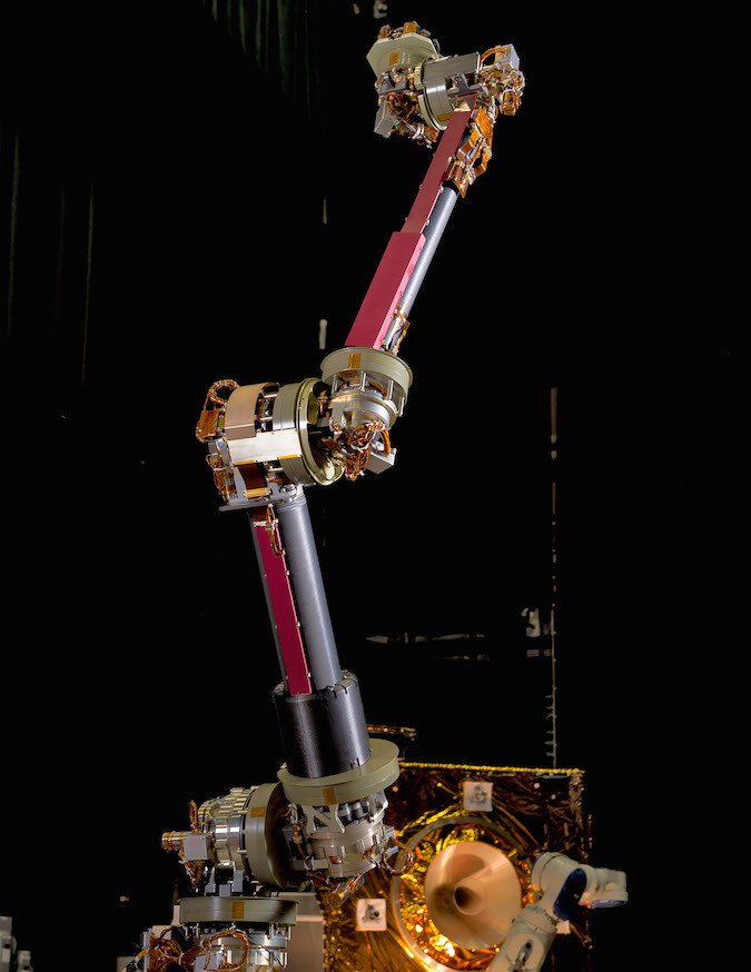 An engineering design unit of the NASA servicing arm, which will be used for the Restore-L mission, stands in the Robotics Operations Center at NASA's Goddard Space Flight Center. Credit: NASA/Chris Gunn