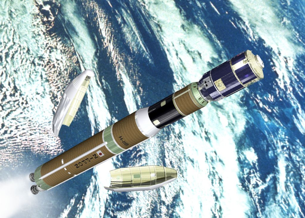 Artist's concept of the H-2B rocket and HTV cargo ship soon after the rocket's payload fairing jettisons. Credit: JAXA